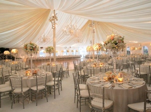 Neutral wedding styling - Marquee wedding.