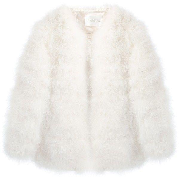STINE GOYA 'Nebular' jacket (£360) ❤ liked on Polyvore featuring outerwear, jackets, coats, fur, white jacket, white fur jacket, long sleeve jacket, white straight jacket and fur jacket