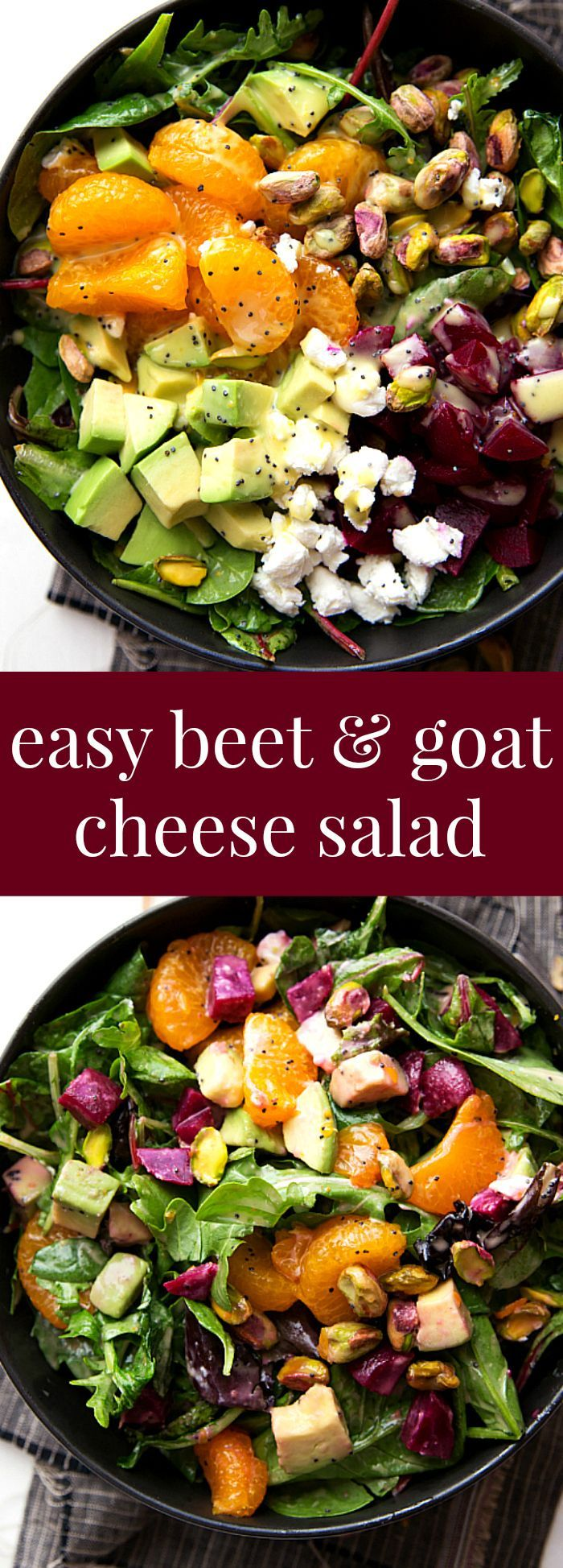 Super quick beet and goat cheese salad with a delicious orange honey poppyseed dressing