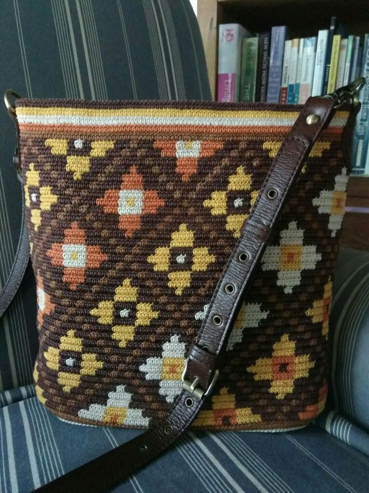 tapestry crochet bag made from waxed cotton cord 1 mm