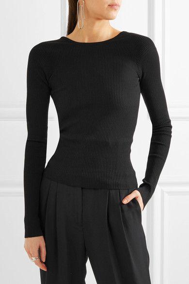 Tibi - Lace-up Ribbed-knit Sweater - Black - x small