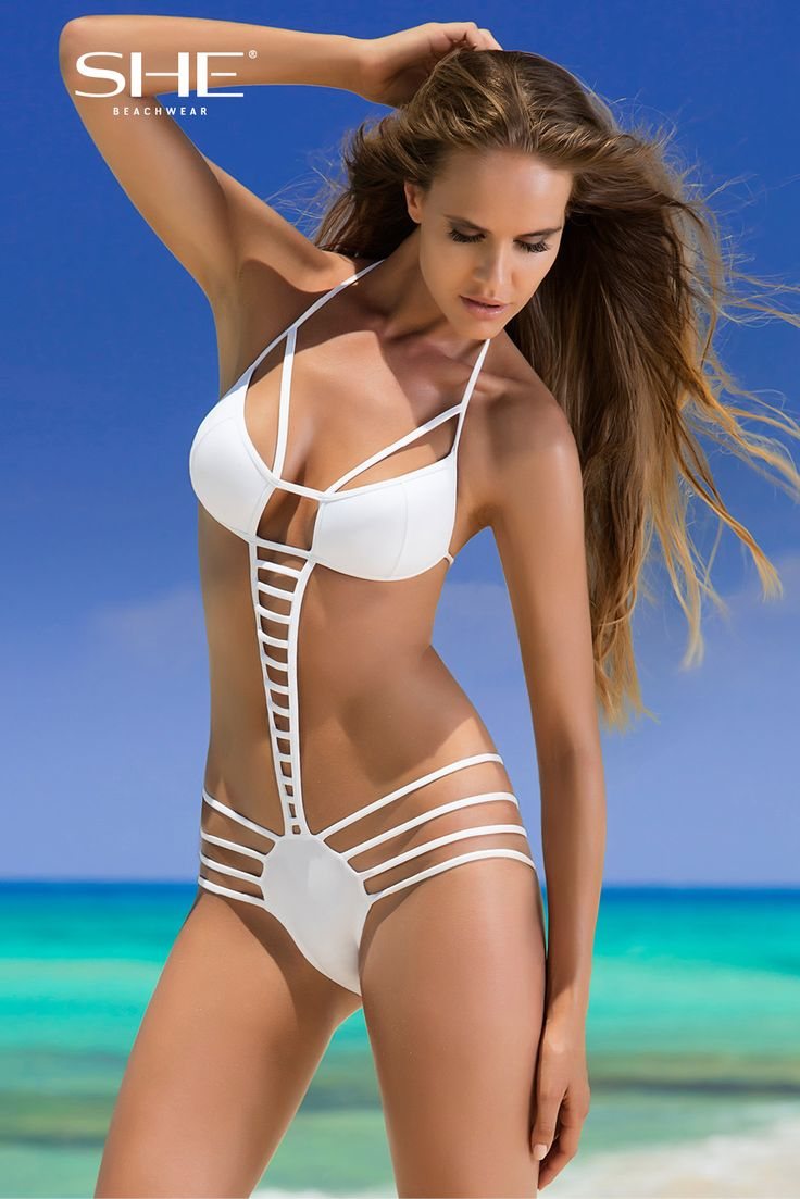 NELLY SWIMSUIT. Decorative stripes of NELLY unique monokini make it hot and unforgettable. The bra lifts and open the breasts due to padded cups with detachable push-up. Neck ties and combination of stripes will underline the perfect body of its owner.