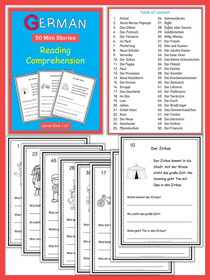 These 50 ready-to-go German Mini Stories with comprehension questions will help to build your students vocabulary skills and reading fluency in German. The goal of these worksheets is to introduce basic German vocabulary in context without the stress of mastering complex grammar structures. Each reading passage consists of 3 sentences followed by 3 comprehension questions. All texts and questions are written in simple present. They are suitable for absolute beginners.