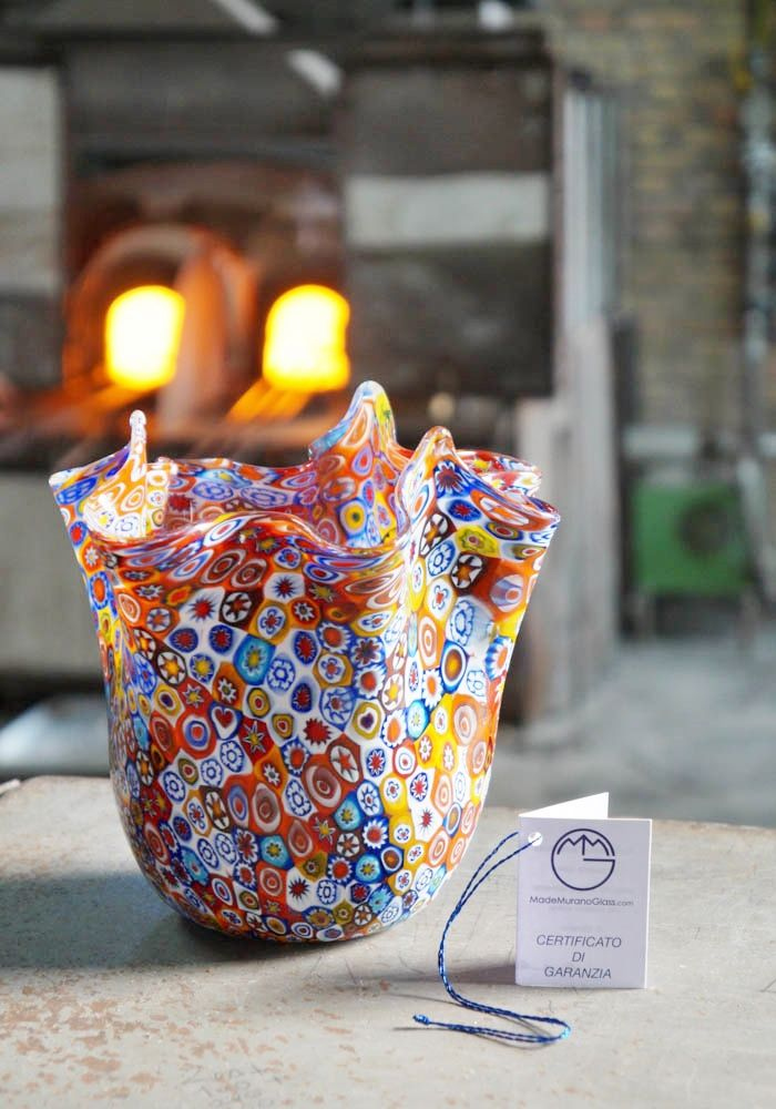 #Handkerchief #venetian  #glass #vase with #Murrina #Millefiori. #Fazzoletto in #vetro di #Murano con #Murrina #Millefiori.