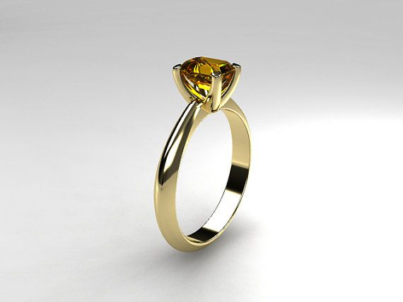 Solitaire engagement ring, Citrine ring, yellow gold, emerald cut, Citrine engagement, yellow, engagement ring, golden citrine on Etsy, $1,699.00