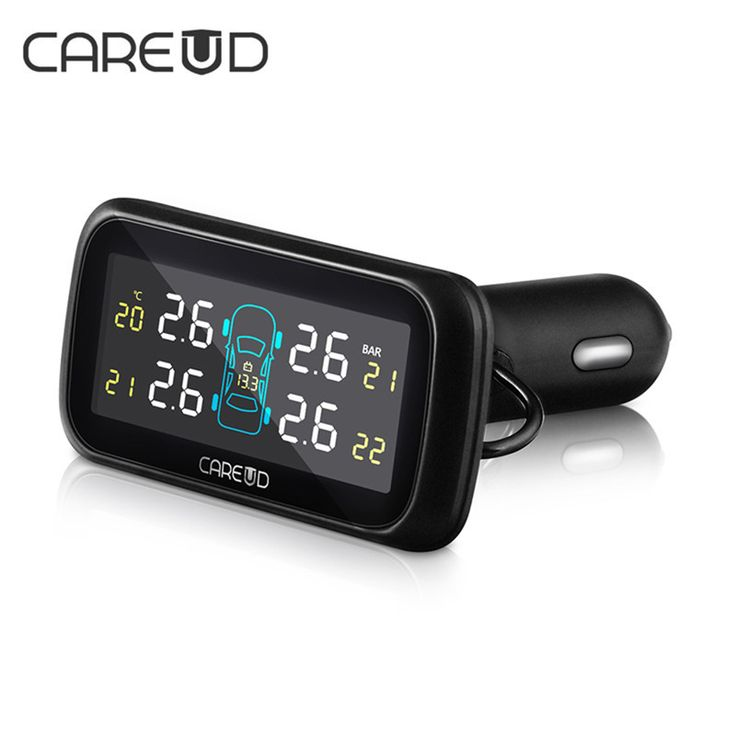 U903 Car Wireless TPMS Tire Pressure Monitoring System with 4 External Replaceable Battery Sensors LCD Display