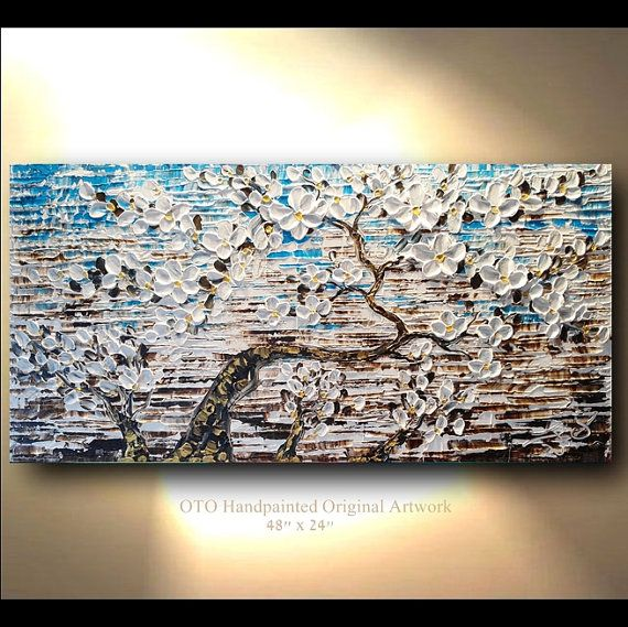 ORIGINAL Painting 24x48 White Flower Gold Brown Blue Flower Abstract Painting Art Canvas oil Wall Decor Artwork Impasto Textured art by OTO