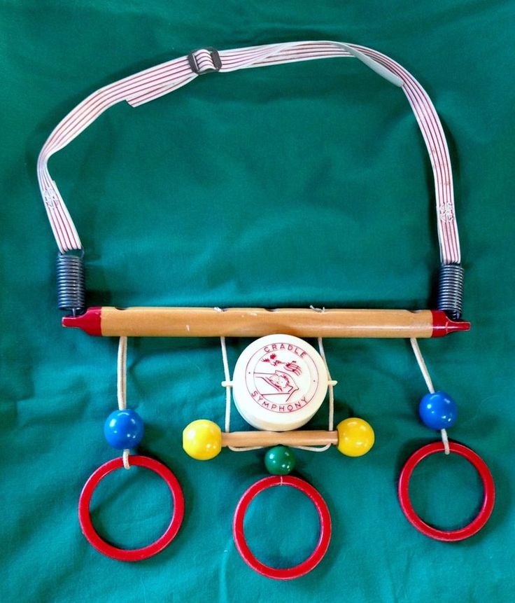 Vintage Cradle Symphony Musical Wooden Baby Crib Toy 1950s