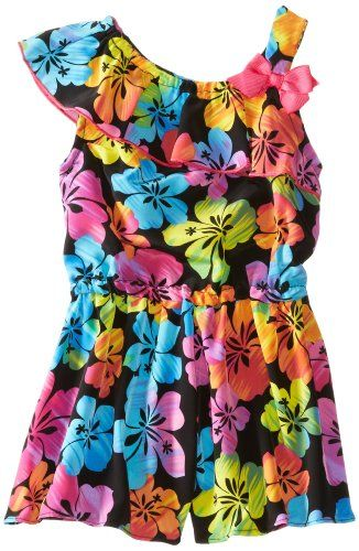Youngland Little Girls' 1 Shoulder Floral Romper, Black/Multi, 5   - Click image twice for more info - See a larger selection of girls jumpsuit at http://girlsdressgallery.com/product-category/girls-jumpsuit/- girl, girls, little girls, kids, kid, girls fashion, kids fashion, gift ideas, over all for girls, jumpers, jumpsuit, romper