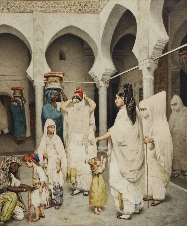 FRENCH SCHOOL OF NINETEENTH CENTURY FEMMES ET ENFANTS DANS UNE COUR INTÉRIEURE *** DURAND; WOMEN AND CHILDREN IN A COURTYARD; SIGNED LOWER RIGHT; WATERCOLOR ON PAPER; SEE ILLUSTRATION ON THE NEXT PAGE Signed lower right Durand Watercolour on paper  48 x 39.5 cm; 18 7/8 by 15 1/2 in: