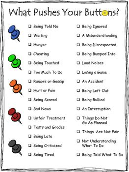 "Visually appealing poster to help identify common triggers to negative emotions. A helpful tool for early anger management. This is a preview of my ""Button Pusher"" product that includes activities and fun worksheets with 80 creative therapeutic questions to identify triggers, stages of anger, and helpful coping strategies coming very soon."