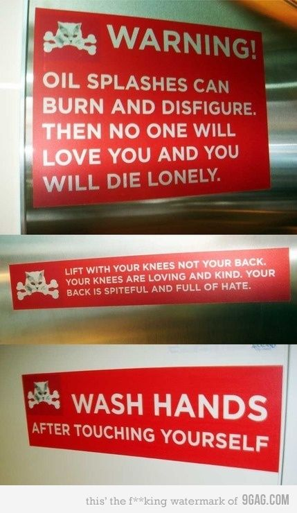 IF i ever owned a business, i would put these all  over the place.: Safety Signs, Laughing, Funny Shit, Help Reminder, Funny Signs, Work Signs, Warning Signs, Funny Stuff, Funnies