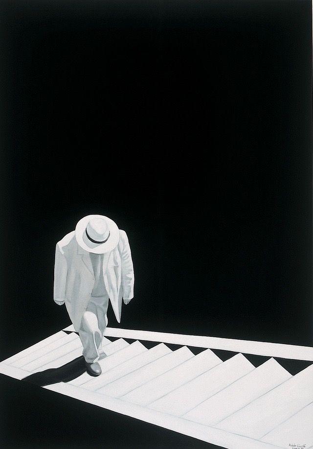 László Fehér (Hungarian, b. 1953): On the Stairs II, 2002. Oil on canvas, 200 x 140 cm. © László Fehér.
