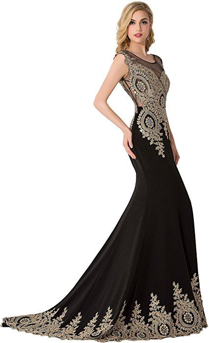 20a49bf887 Babyonline Trumpet Long Evening Dress Lace beads Cap Sleeve Party Prom gowns