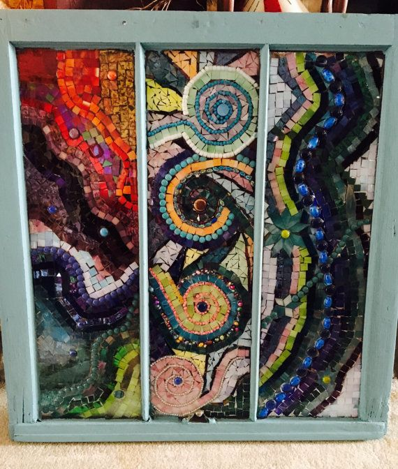 Mosaic stained glass window by GlassyGiftsByLisa on Etsy