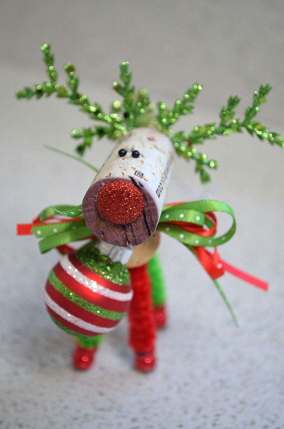 Wine Cork Reindeer Ornament by TheCorkForest on Etsy