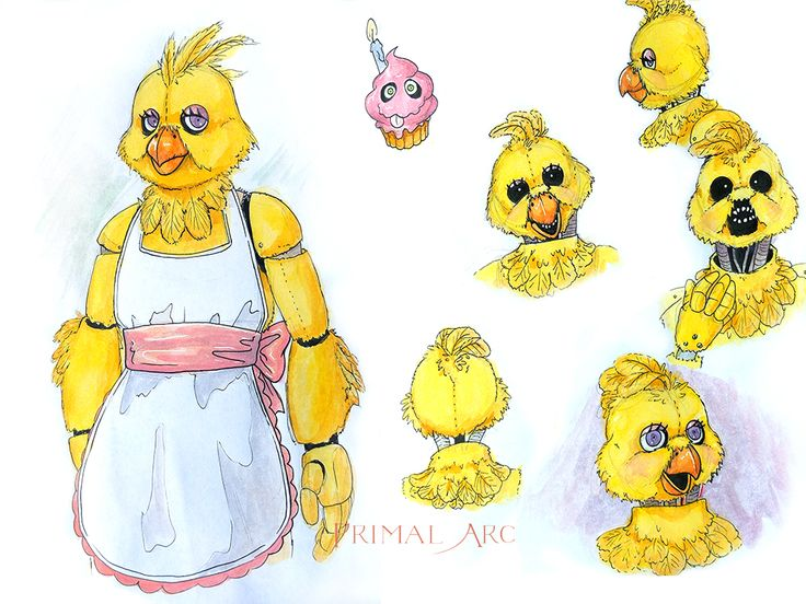 Original Chica design, watercolour. #fnaf #fivenightsatfreddys