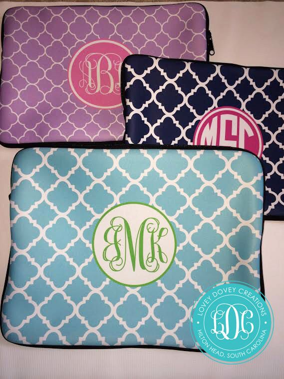 Personalized Laptop Sleeve  Monogram Laptop Case   MacBook Sleeve- Choose Colors by LoveyDoveyCreations on Etsy https://www.etsy.com/listing/167643918/personalized-laptop-sleeve-monogram