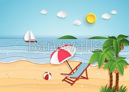 """""""illustration of tropical beach"""" - Illustrated nature posters and prints available at Barewalls.com"""
