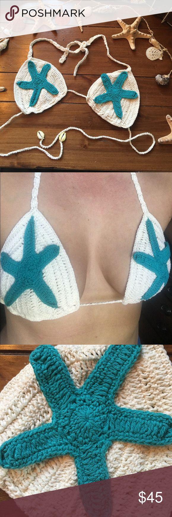 Starfish Bikini Top Mermaid accessories. This top is a handmade crochet bikini top. Cream bikini with teal sea star accents. ❤️🐚✨ Melayni.com Swim Bikinis