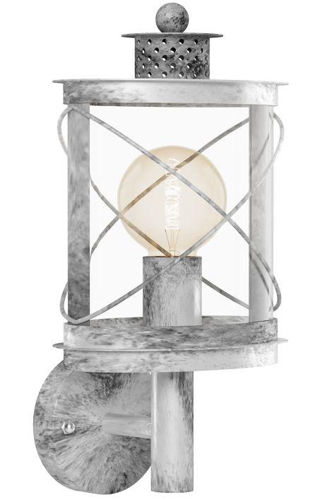 """Artikel 11107 Fraaie, sfeervolle buitenlantaarn welke aansluit bij een Riviera Maison stijl! Deze buitenlamp is gemaakt van gegalvaniseerd staal en uitgevoerd in een grijs/ witte kleur. Deze wandlamp heeft een antieke, zilveren uitstraling en komt vintage over. Het """"glas"""" is gemaakt van helder kunststof. http://www.rietveldlicht.nl/artikel/buitenlamp-11107-eigentijds_klassiek-landelijk-rustiek-grijs-zilvergrijs-zilver_-oud_zilver-staal_rvs-lantaarn"""