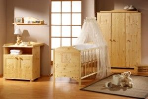 Komplett Kinderzimmer DREAM, 3-tlg. (Kinderbett, Wickelkommode und 3-türiger Kleiderschrank), Kiefer massiv