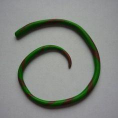 Écarteur fin vert et marron en fimo / 2 à 3 mm