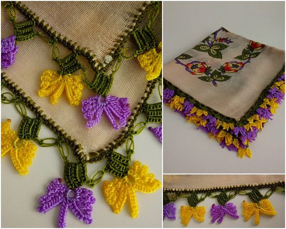 Turkish scarf / floral wheat-colored by TurkishAccessories on Etsy