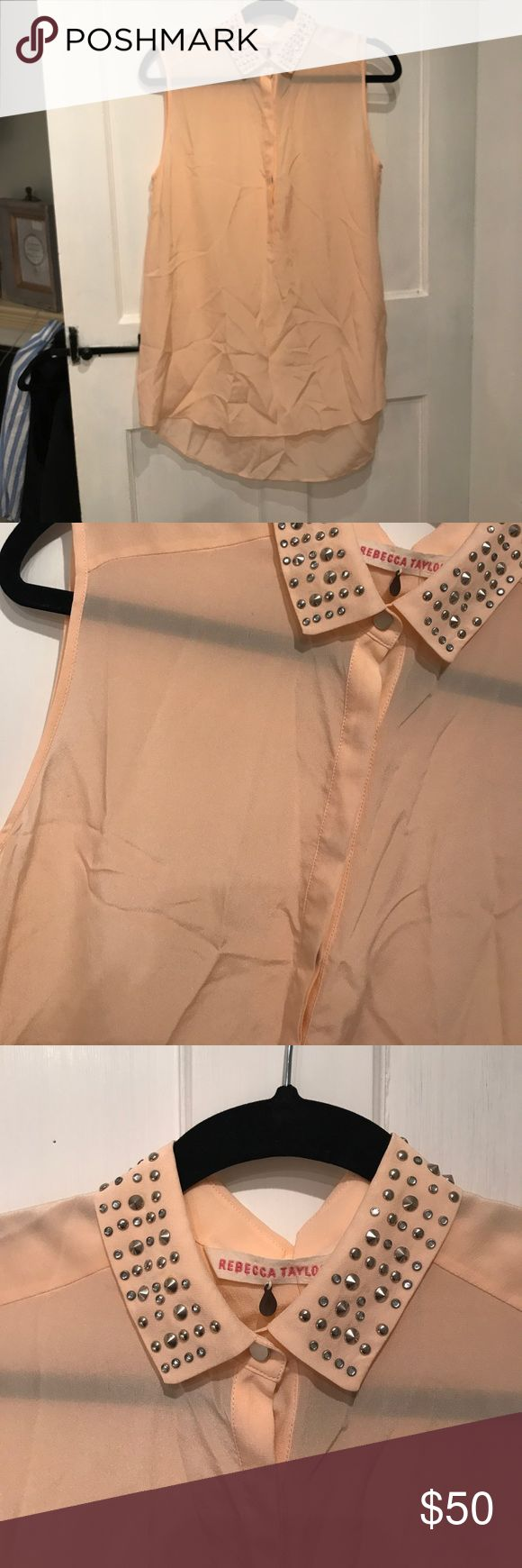 Rebecca Taylor Silk Blouse Orange And Pink 65