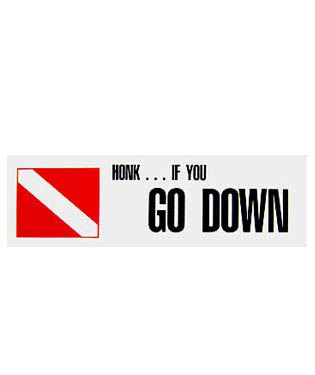 Honk If You Go Down Scuba Diving Bumper Sticker for Cars, Boats, etc, Stickers