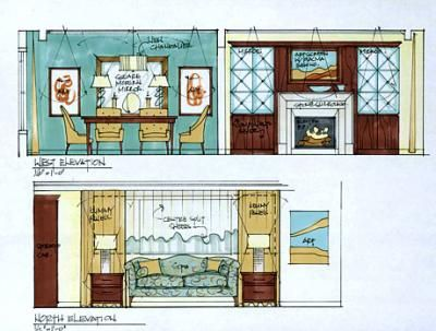Candice Olson's illustrations. sketch, interior design, drawing, architecture, furniture