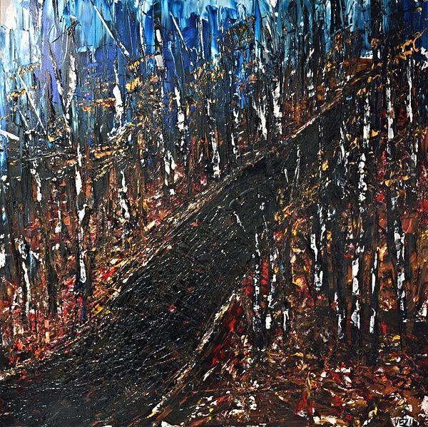 Isabelle Vézina artiste peintre du Québec, Sentier automnal Acrylique sur toile 48'' x 48''