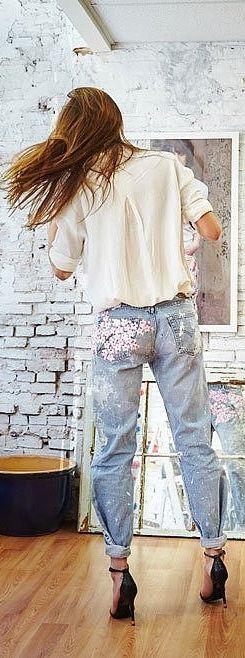 Rialto Cherry Blossoms Boyfriend Jeans ($495), straight from Blake Lively's website, Preserve.