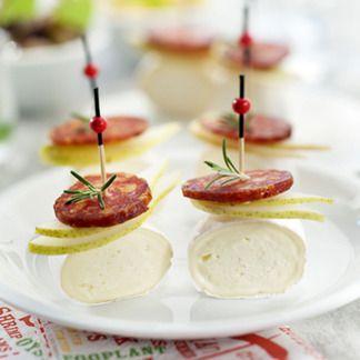 Brochettes en cas de Caprice, poire et chorizo