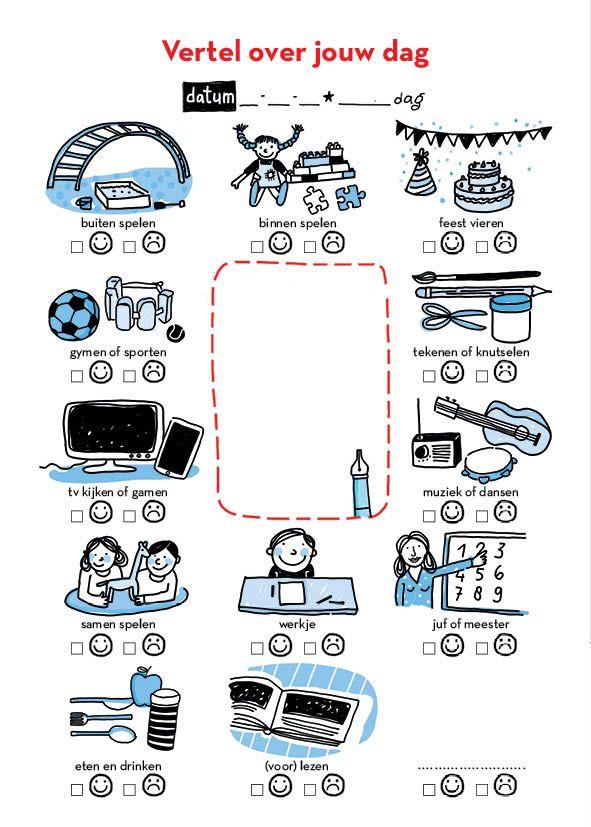 Slaapritueel: kruip dicht bij elkaar en overloop samen nog even de dag. Bekijk met je kleuter dit visuele vragenlijstje.