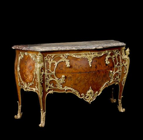 A very fine Louis XV style gilt bronze mounted marquetry and palisander commodeAttributed to Theodore Milletfourth quarter 19th century