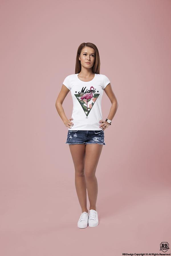d86d6fb27776 Miami Vibes Fresh Summer T-shirt Ladies Flamingo Graphic Top WD355 ...