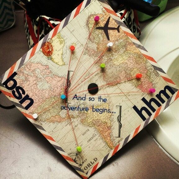 Thematic graduation cap of travel – #decoration – #cap #Decoration #graduation #themed