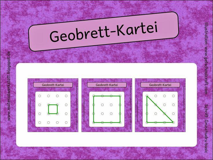 Die Kartei enthält 42 Karten für ein 4x4 Geobrett. Diese sollen mit einem Gummiband auf einem Geobrett nachgespannt werden.  Aus einem quad...