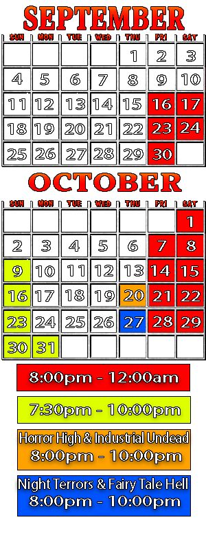 Calendar for Nashville Nightmare Haunted House