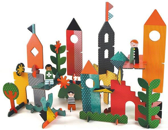 Petit Collage Pop Out and Play Creative City - With this set, the pieces are popped-out and then assembled, and reassembled, to create endless configurations of this fantastic Creative City. Kids can create all sorts of different buildings and designs as they re-imagine the city they've created. With three friendly people characters that can be personalised too, the Petit Collage Deluxe Pop-Out Creative city will provide endless fun.