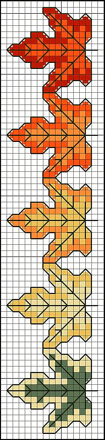 Color Autumn Leaves Chart cross stitch  Counted Cross-stitch, which I've done a lot of, lends itself to beautiful jewelry work.