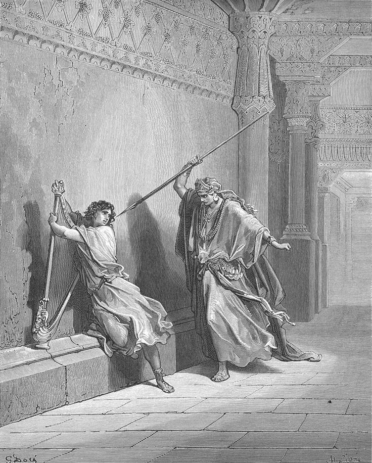 072.Saul Attempts to Kill David - Category:Saul throwing spear at David - Wikimedia Commons