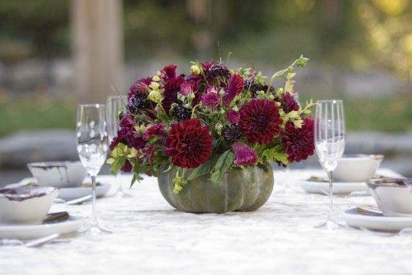 burgundy fall arrangement in squash, Françoise Weeks