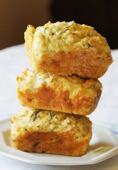 Cheesy Garlic Zucchini Bread: This is a delicious, savory bread that goes well with soups and stew, this recipe made 5 small loaves.