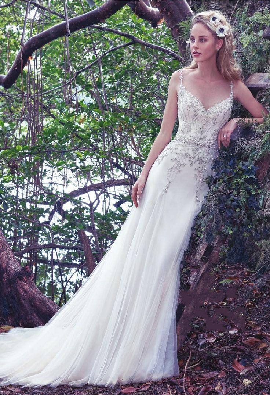 Elegant Trumpet/Mermaid Spaghetti Straps Beading&Crystal Lace Sweep/Brush Train Wedding Dresses