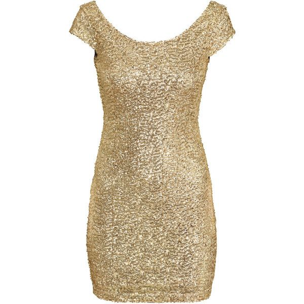 H&M Sequined dress (51 CAD) ❤ liked on Polyvore featuring dresses, gold, brown cocktail dress, sequin cocktail dresses, embroidery dress, cap sleeve cocktail dress and mesh dress