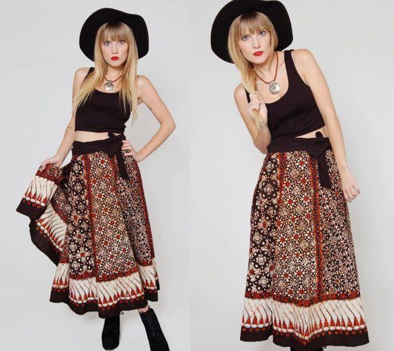 Vintage 80s BATIK Skirt ETHNIC Boho Maxi Wrap by LotusvintageNY
