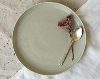 Mist lunch plate - hand thrown plate - tableware - dinnerset - satin matt grey plate - hand made pottery - medium plate - stoneware ceramics