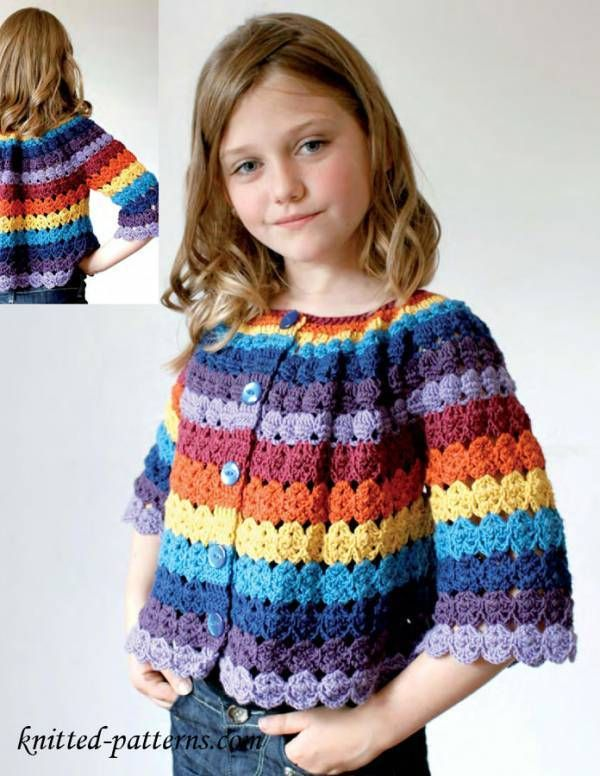 Crochet Rainbow Childs Cardigan with Free Pattern